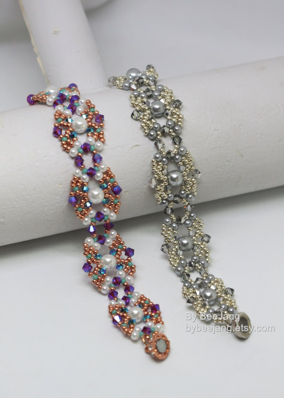 Pdf tutorial narcissa bracelet instant download beadweaving perlen anleitung zu kaufen pinterest - Perlenarmband basteln ...