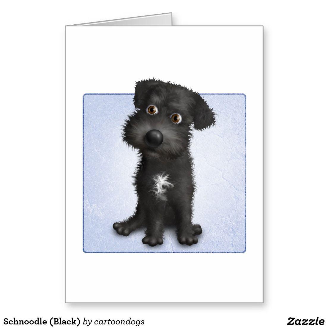 Schnoodle Black Card Zazzle Com Cartoon Dog Dog