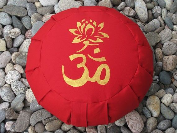 Zafu Meditation Cushion Pillow Om Lotus Red by Inspirazen on Etsy
