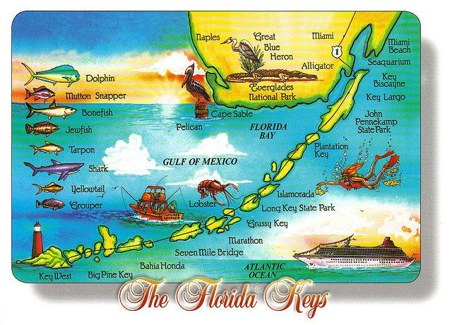 Large Florida Keys Map Postcard Special Trade Florida Keys Travel Florida Keys Map Florida Keys