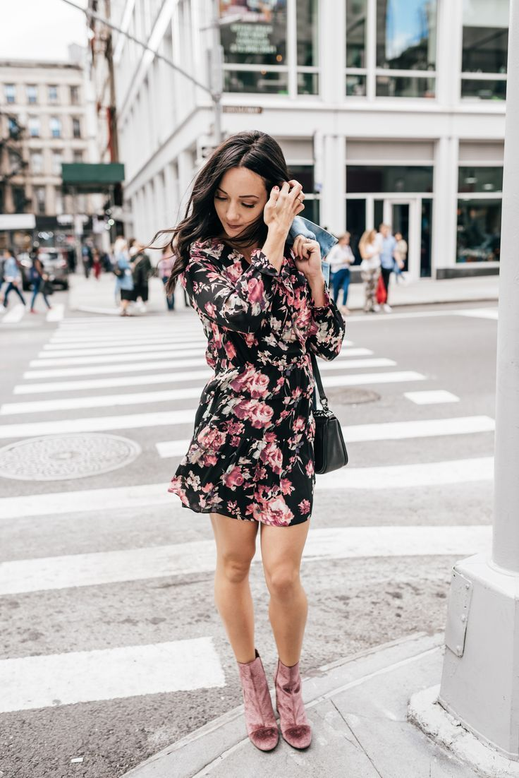 Pink dress with denim jacket  floral joie dress pink booties oversized denim jacket  Fall style