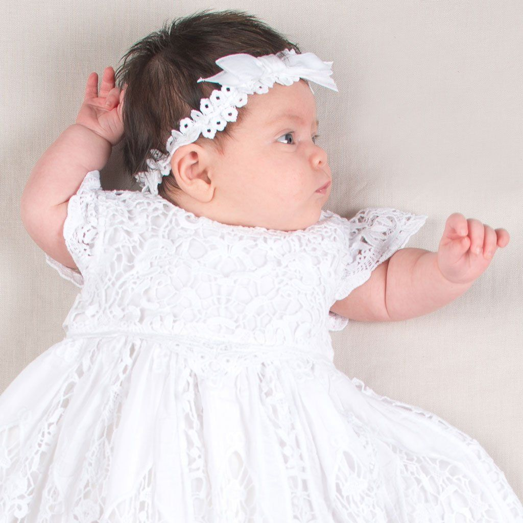 98866db1a Grace White Christening Headband - Baby Lace Headband - #babyheadbands  #BabyGirl Christening Gowns For