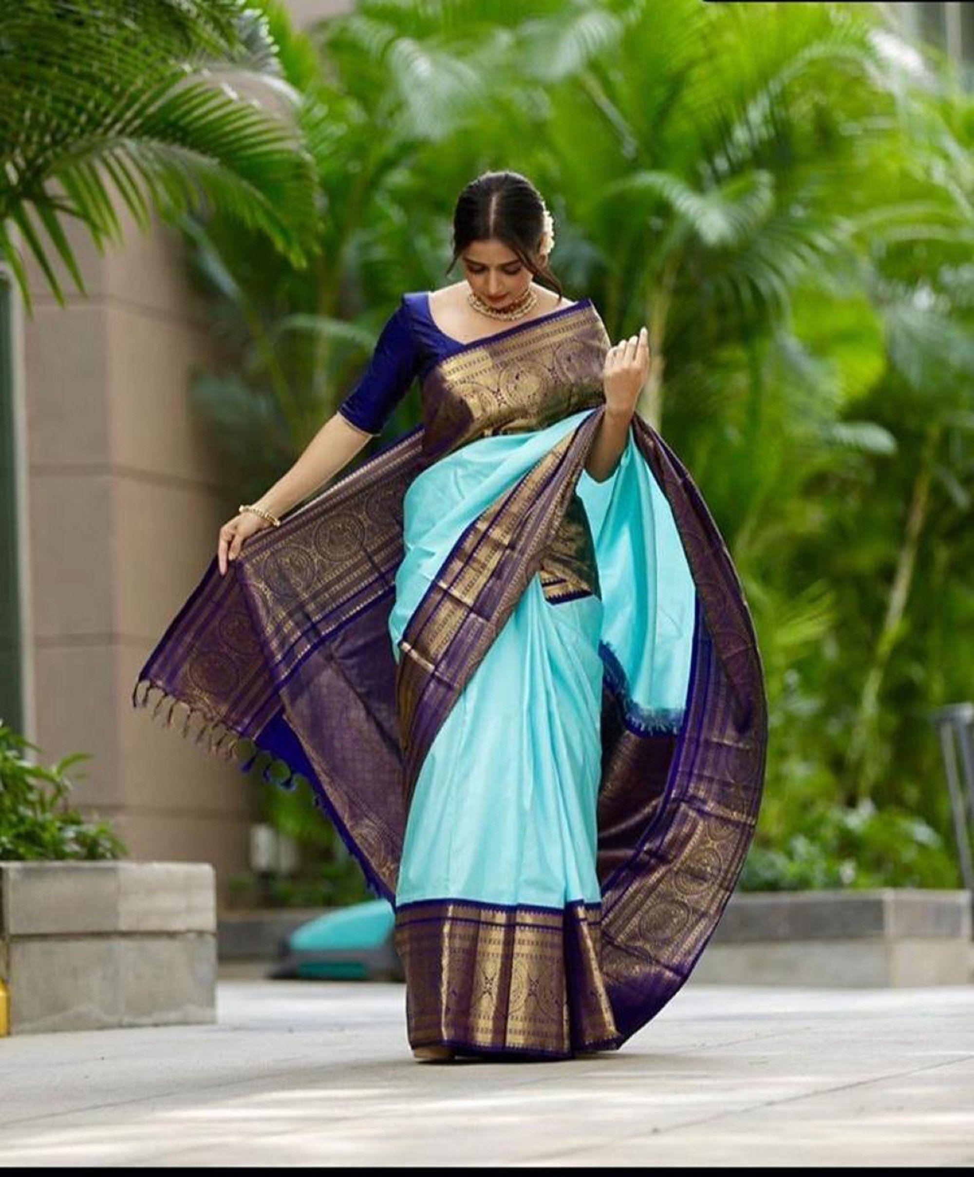 Multi Color Designer Bold And Beautiful Saree Indian Traditional Saree Bollywood Style Exclusive Party Wear Kanchipuram silk Saree