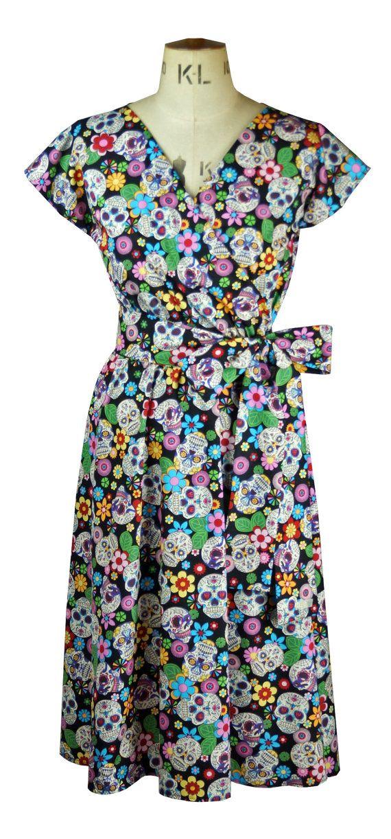 Baylis /& Knight Sweetie Short Sleeve WRAP Dress Retro Pin Up Liquorice allsorts
