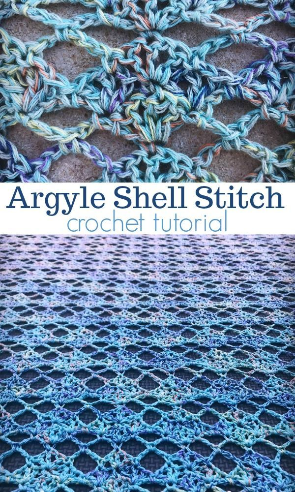 Argyle Shell Crochet Stitch Tutorial #crochetstitchespatterns