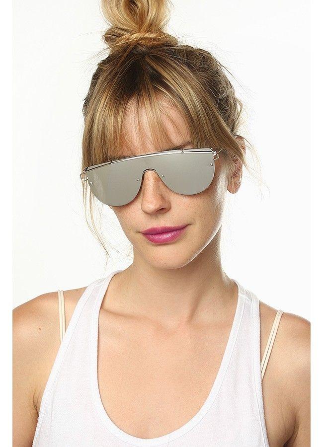 91e6304d4b4 Zhora Designer Inspired Flat Top Mirror Shield Sunglasses