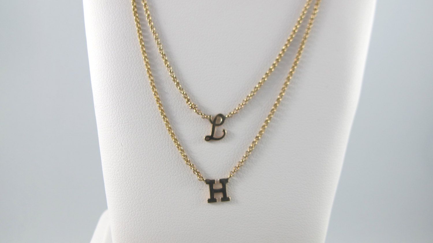 Tiny Initial Necklace In Cursive 10kt Yellow Gold Pin4etsy