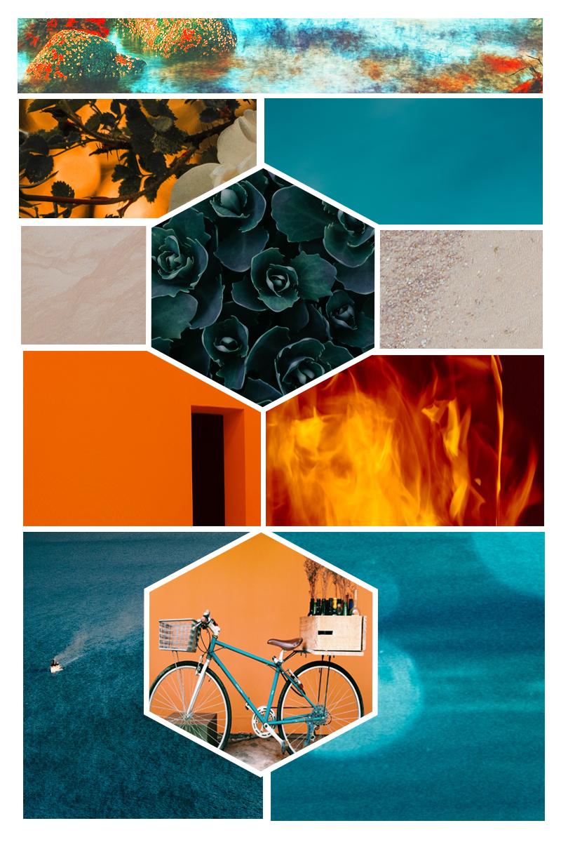 Blue And Orange Mood Board Warm Tones Cool Tones
