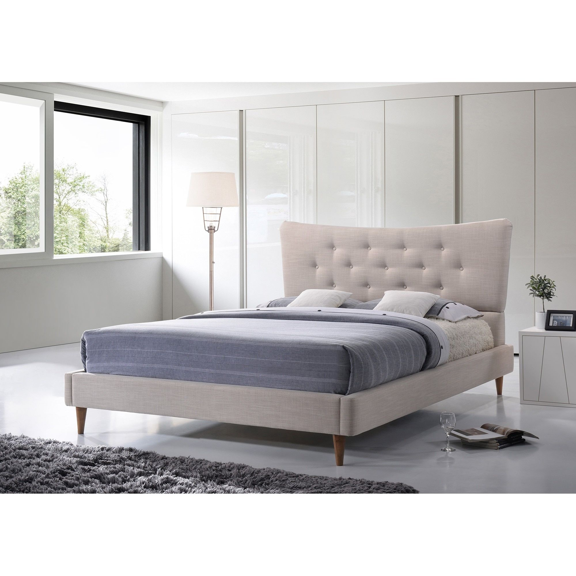 Best Baxton Studio Hermia Mid Century Modern Beige Linen 400 x 300