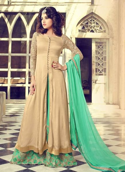 d80eecae1f Beige Palazzo Suit in Georgette and Satin Silk | Palazzo Suits ...