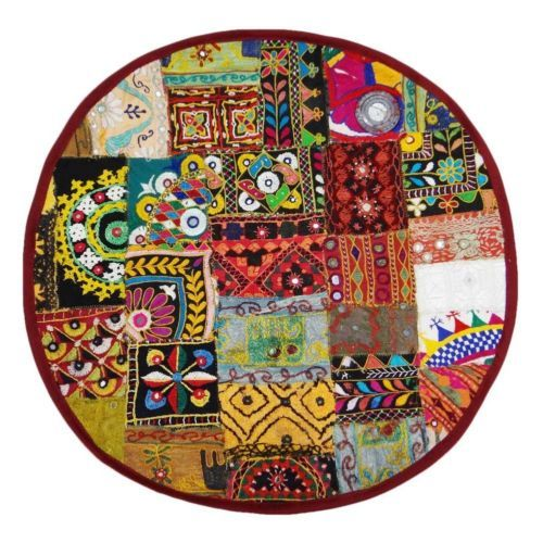 "24""D  Patchwork Cushion Cover Round Shape Tapestry Kutch Embroidered Pillow Case $24.00 + $8.99 /Ebay"