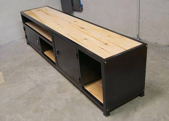 Meuble Tv Industriel En Metal Bois Modele Factory Meuble Tv Bois Mobilier De Salon Et Meuble Tv Industriel