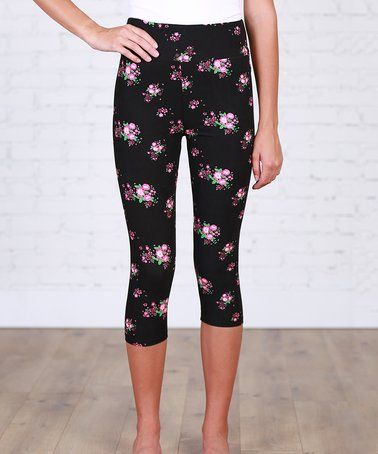 Love this Black & Hot Pink Floral Capri Leggings on #zulily! #zulilyfinds