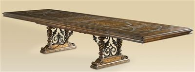 Luxury Dining Room Furniture Table With Stone Inlay Top And Iron Work Extends To 3 Diffe Sizes