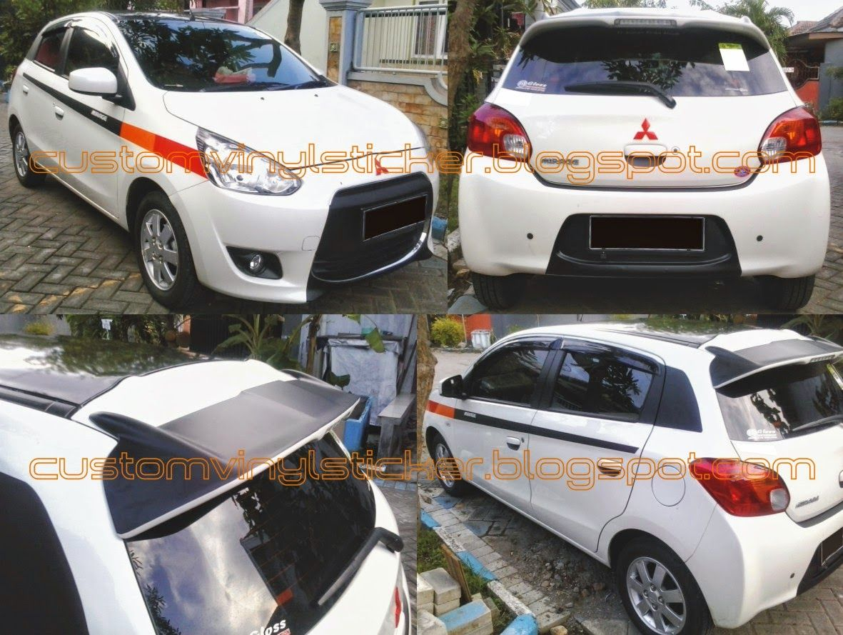 Car cutting sticker design - Mitsubishi Mirage White Custom Wrap Strip Sticker Mitsubishi_mirage Mitsubishi_mirage_custom_sticker