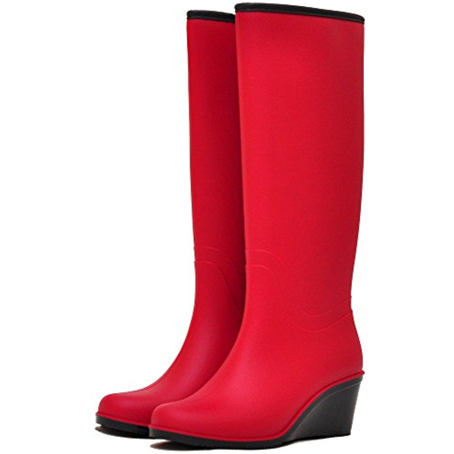 Women's Fur Waterproof Rain Boots NORDMAN BELLINA Wedge Heel