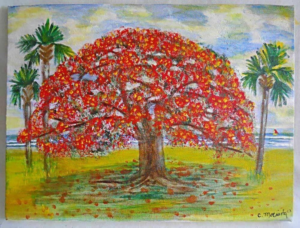Florida miami beach painting folk naive outsider vintage