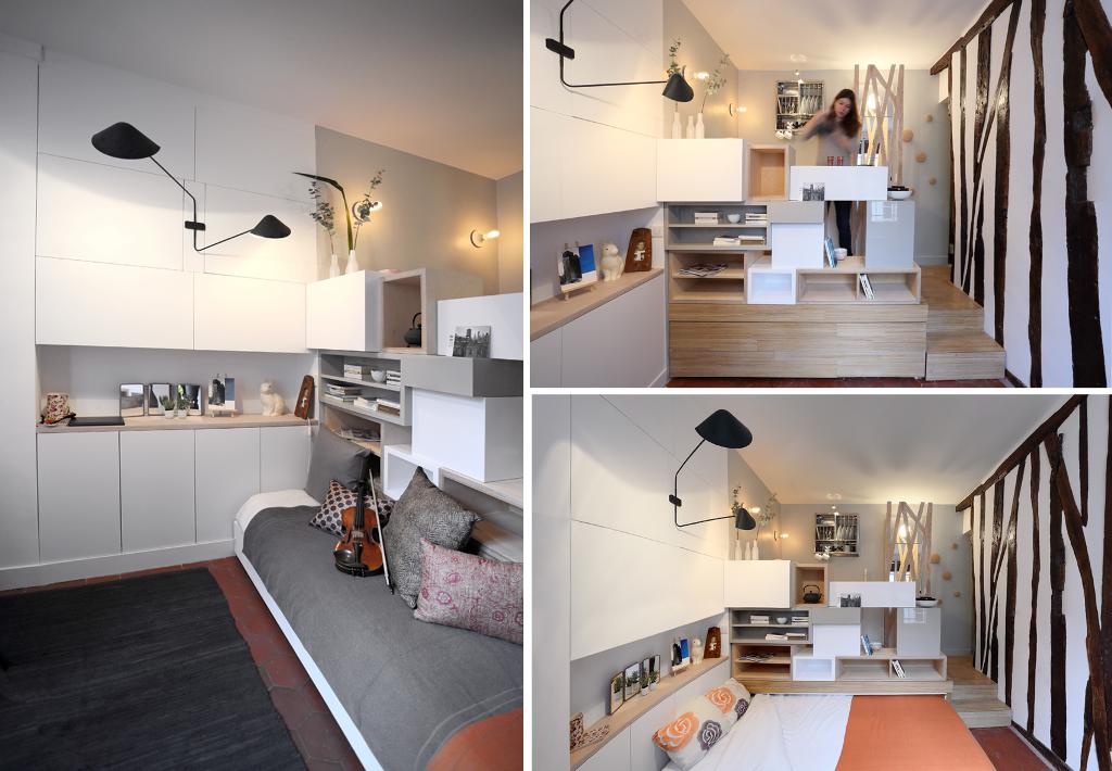 Lit Coulissant Sous Estrade Meubles Pour Le Cabinet Amenagement Petit Espace Mobilier De Salon Lit Modulable
