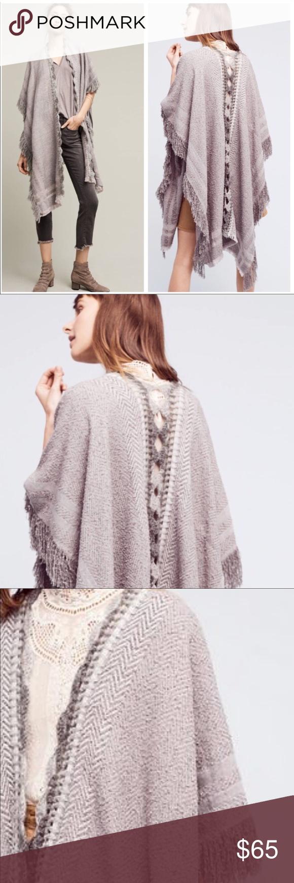 Anthropologie Montreux Kimono Top Fringe Shawl Poncho Grey One Size XS S M L