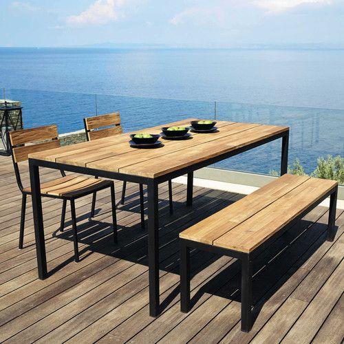 Balkontisch metall holz  Gartentisch aus Akazienholz und Metall schwarz B 180 cm ...