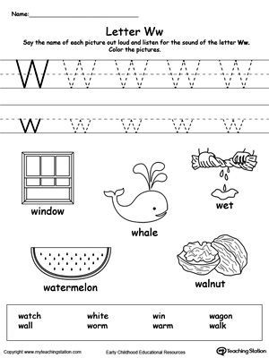 Words Starting With Letter W  Worksheets Activities And Pre School