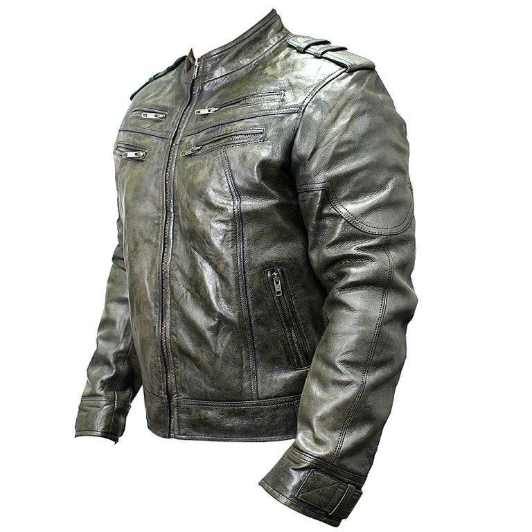 New Mens Genuine Sheep Skin Leather Fashion Jacket Green 4 Zipped chest Pocket