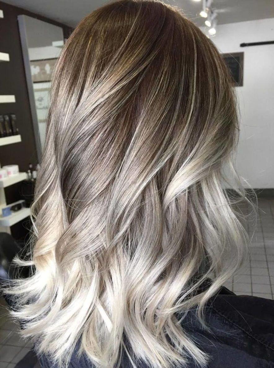 Brown Ash Blonde And Platinum Blend Balayage Hair Dark Blonde Hair Brunette Hair Color