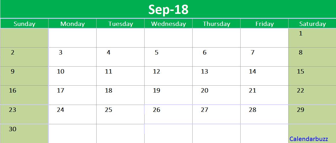 September 2018 Calendar Printable Template Excel 2018 Calendars In