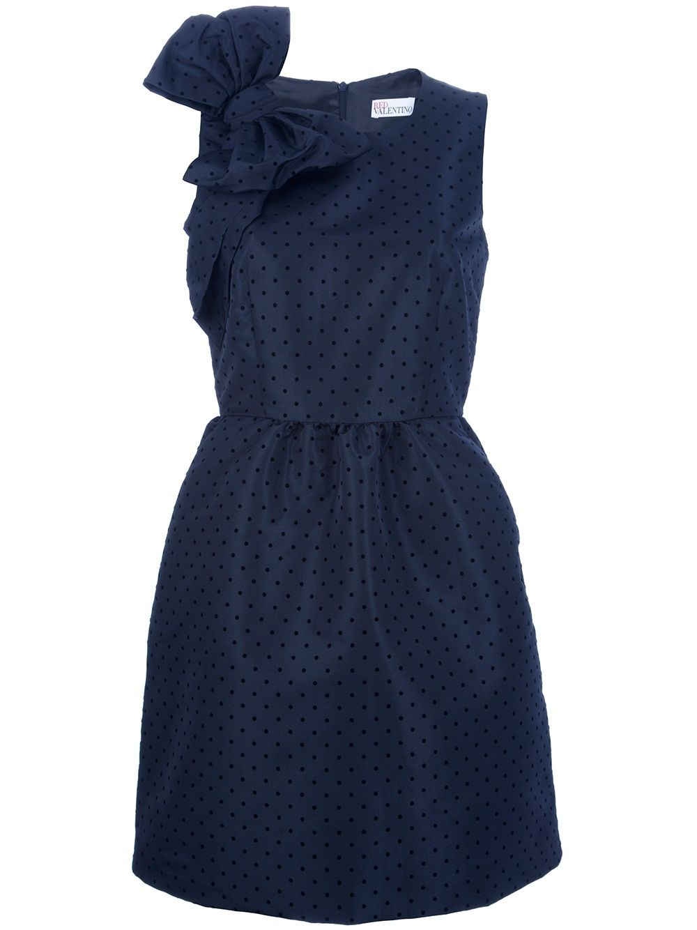 Perfection navy valentino dress with polka dots and a big bow on