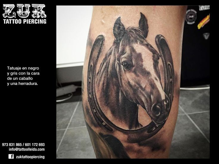 Realism Style Colored Leg Tattoo Of Detailed Horse With Horseshoe Horse Tattoo Design Horse Tattoo Cowgirl Tattoos