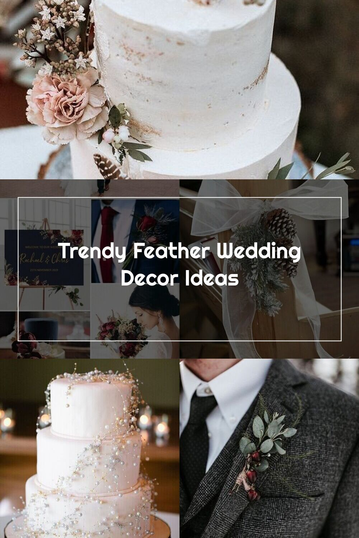 Wedding Cakes | Trendy Feather Wedding Decor Ideas in 2020 ...