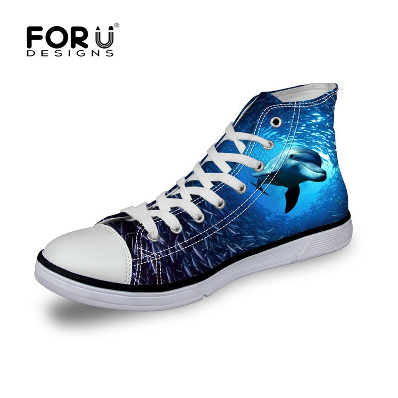 FORUDESIGNS Cool Animal Women s Casual Shoes 3D Underwater Dolphin Printing  Vulcanized Shoes For Women High- eefa9a79f8f9