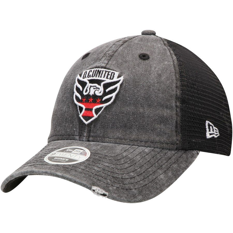91ddb57b440fe Women s New Era Black D.C. United Tonal Washed Trucker 2 Primary Logo  9TWENTY Snapback Hat