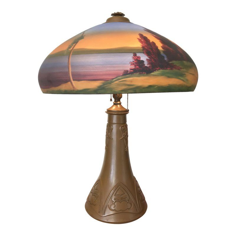 Arts Crafts 1930s Mission Style Reverse Painted Glass Shade Lamp Lake George Adirondack Style Reverse Painted Glass Glass Lamp Shade Lamp