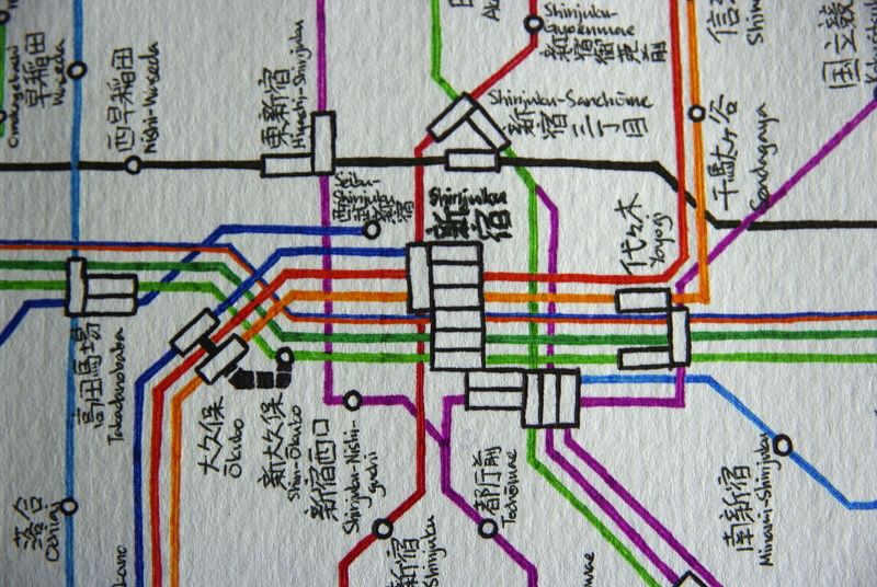 Hand Drawn Tokyo Subway Map.Hand Drawn Map Of Japanese Rail System By Wyton Chu Cool Things