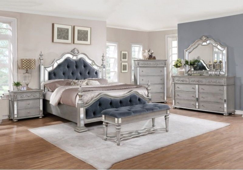 5 Pc Rosdorf Park Kenton Antique Silver Finish Wood Queen Bed Set With Mirrored Accents Bedroom Set 5 Piece Bedroom Set Bedroom Sets