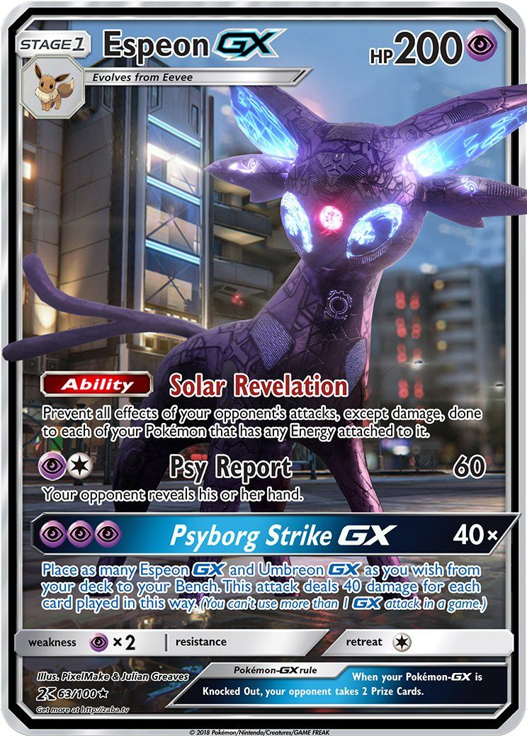 Pokemon Go Arena Karte.Espeon Gx Custom Pokemon Card Pokémon Pokemon Rare Pokemon