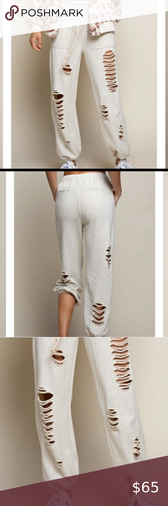 Distressed Oatmeal Joggers