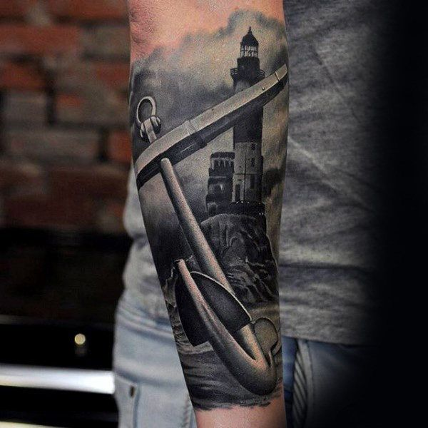 f864690b4 Forearm Sleeve Insane Realistic 3d Anchor With Lighthouse Male Tattoos