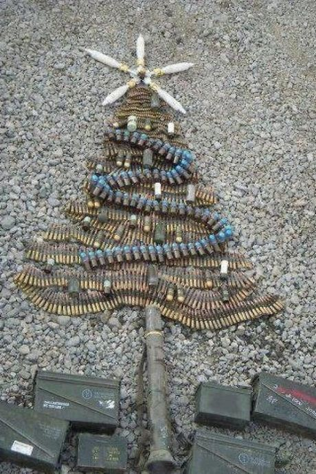 Merry Christmas from Afghanistan, tree, bullets, shells