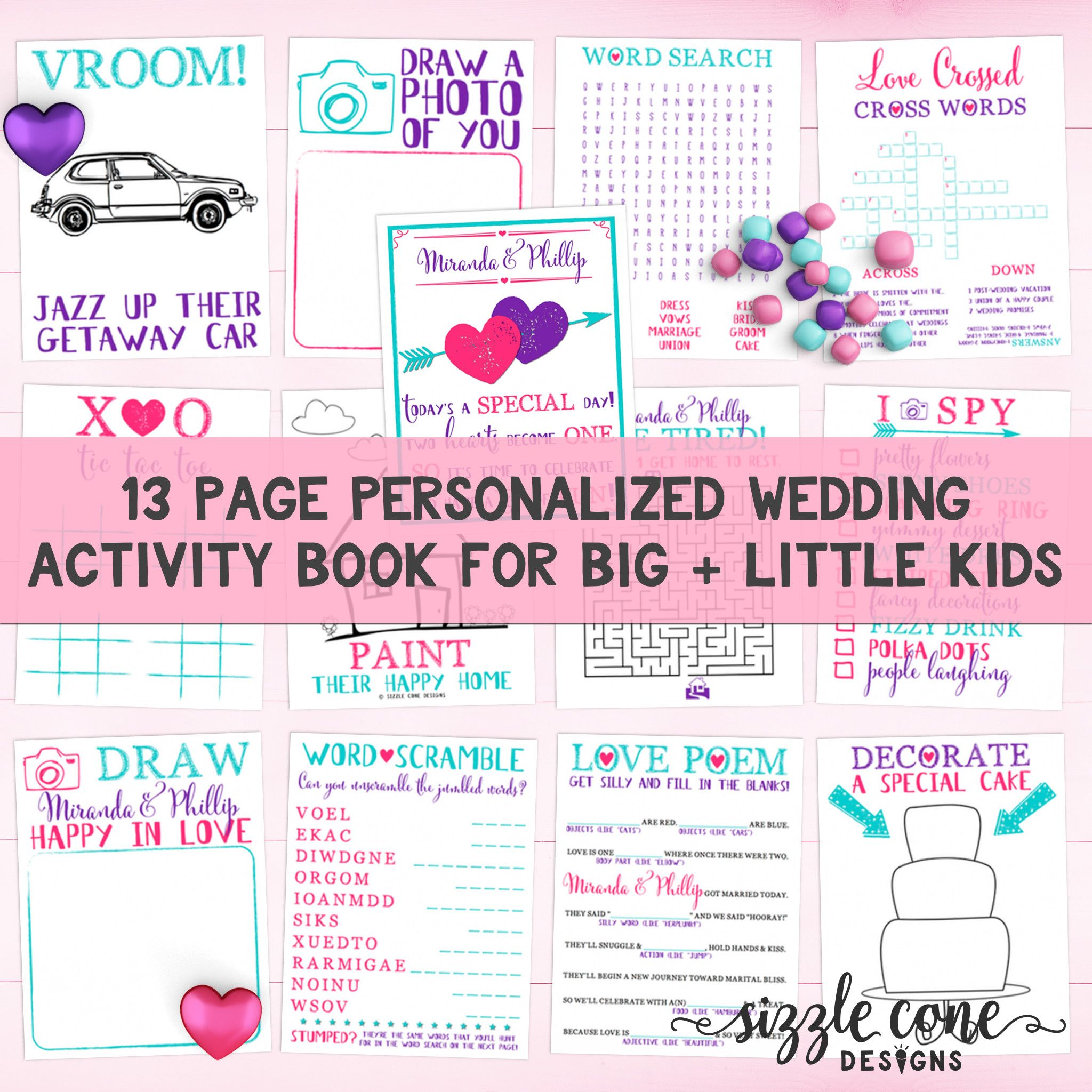 Personalized Kids Wedding Activity Book Printable- All Ages ...