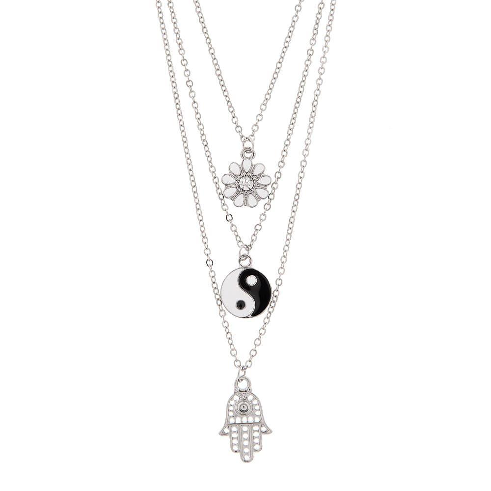 Daisy yin yang and hamsa hand triple pendant necklace claires daisy yin yang and hamsa hand triple pendant necklace claires buycottarizona Gallery
