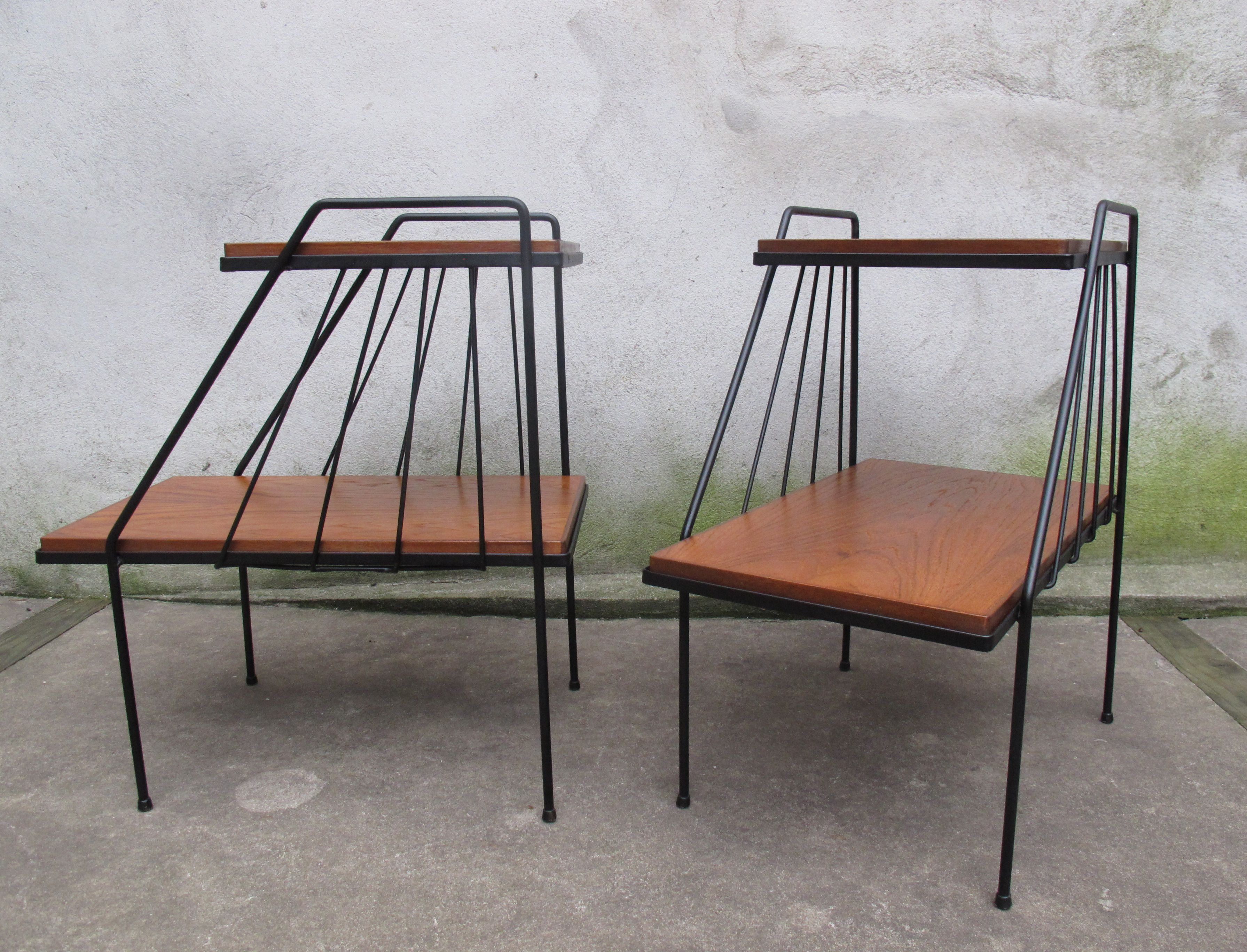 Mid century iron wood two tier end tables after arbuck for Mid century modern furniture new york