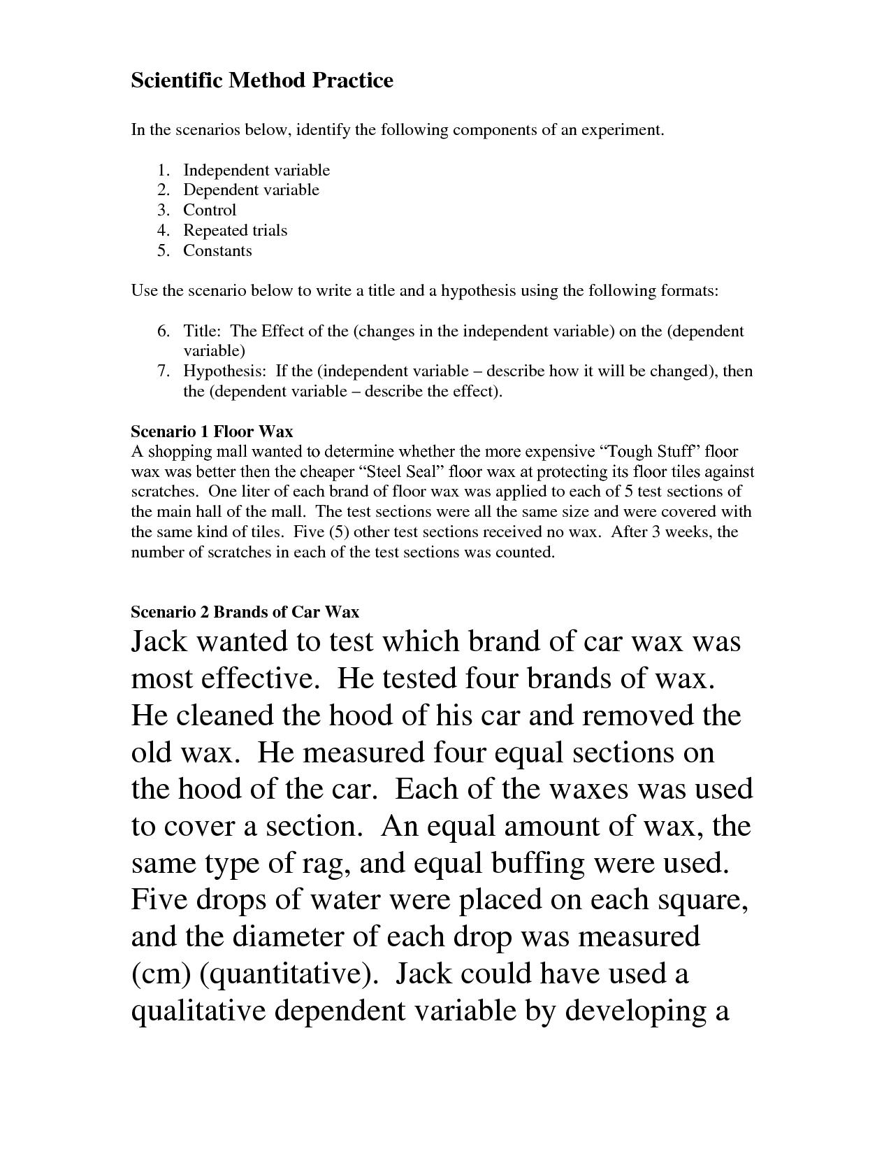 small resolution of 14 Best Images of Scientific Variables Worksheet - Scientific Method  Scenarios Worksheet