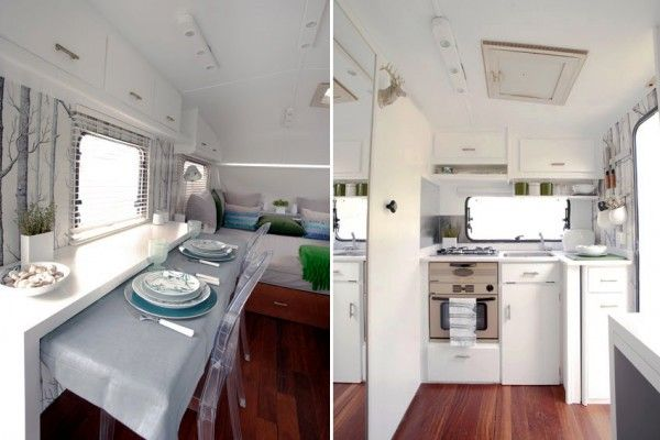 Modern remodel of a #vintage #Airstream rv. Loving the ghost chairs and  Woods