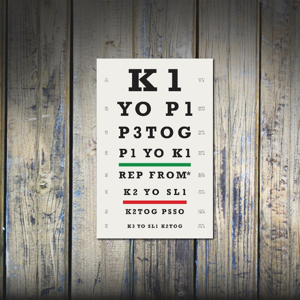 Knitting eye chart!  $19 I would love to put this in my arts a.d crafts corner!