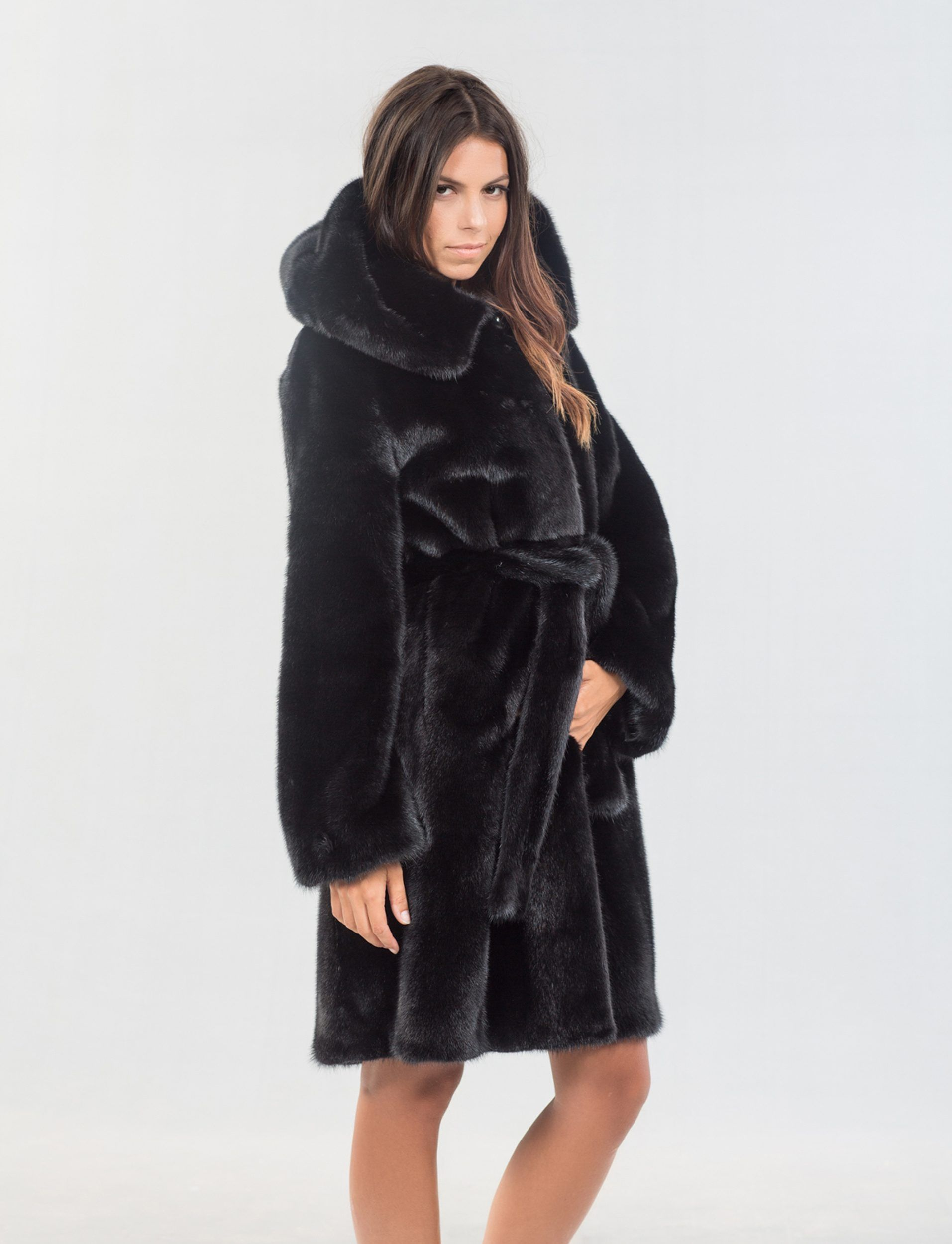54ca4a45b23 Black Mink Fur Jacket With Hood. 100% Real Fur Coats and Accessories.