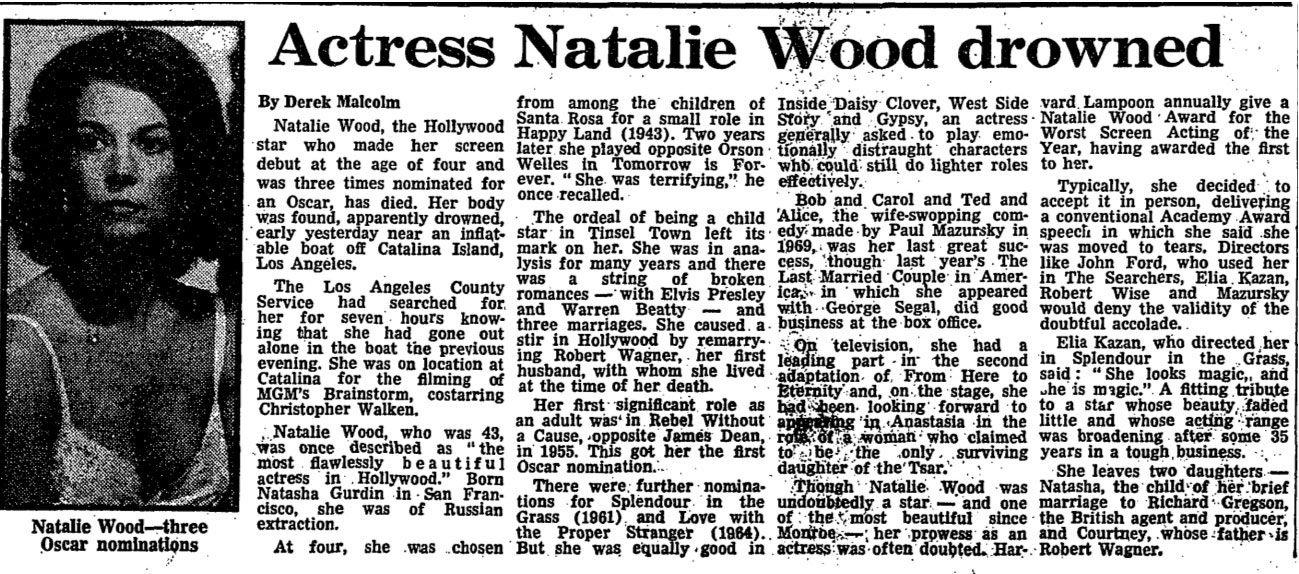 1981: Actress Natalie Wood drowned | Natalie wood