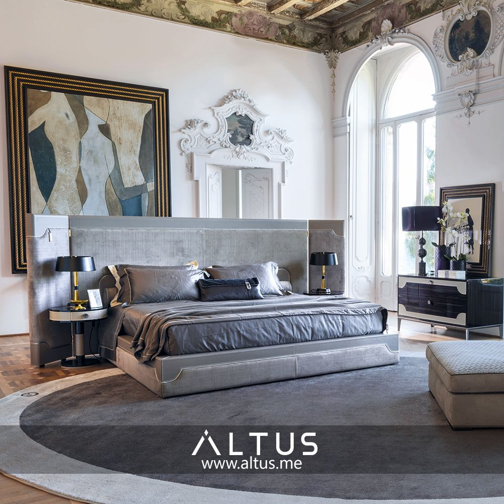 Vittoria Frigerio Milano's Corio bed has a large headboard that embraces balancing nightstands and is adorned with highly elegant finishes. www.Altus.me #InteriorDesign #LuxuryFurniture #LuxuryDesign #Design #Luxury #Style #Bed #Bedroom #Lifestyle #Home #HomeDecor #Designer