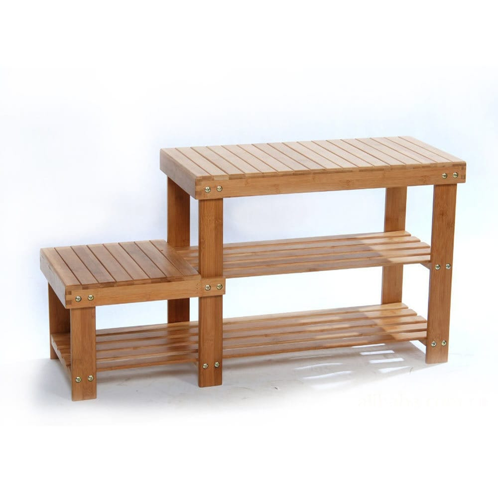 Cm strip pattern tiers bamboo stool shoe rack wood color normal